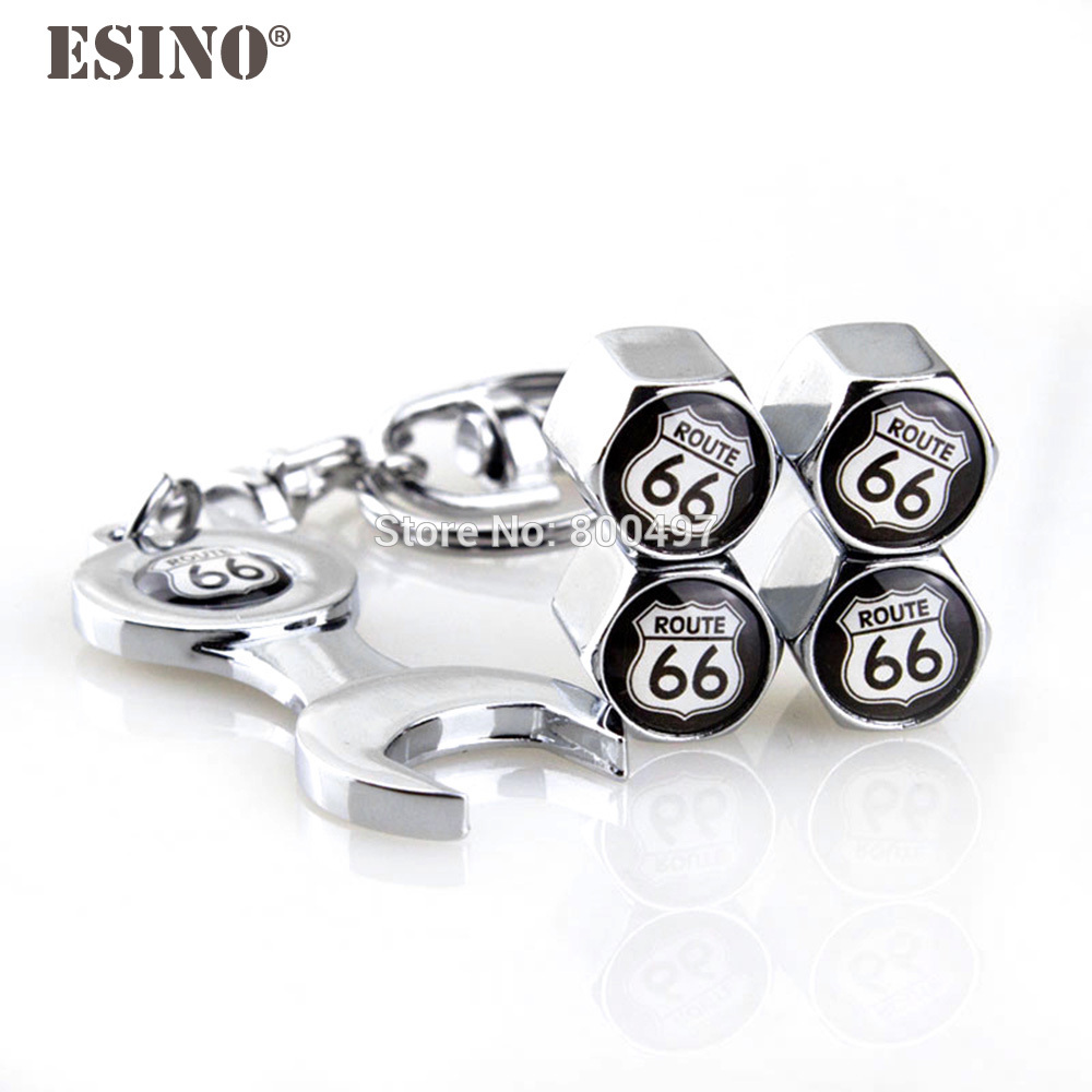 4 X Car Styling Stainless Steel Zinc Alloy Wheel Tire Valve Stems Caps Route 66 Universal Fit With Mini Wrench Key Chain