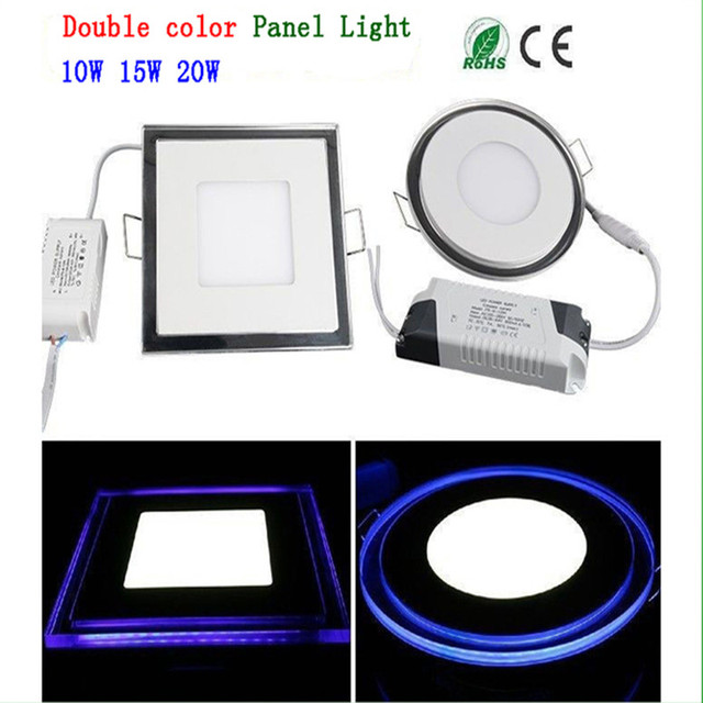 LED panel light square lampada 10W 15W 20W high bright led indoor ceiling lamp SMD white+Blue LED lamp Downlight with led driver