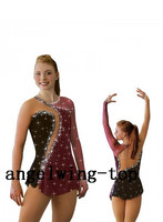 Brow Ice Skating Wear Girls Crystals Figure Wear For Women Competition Skating Wear Custom Ice Figure