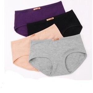 Image 3 - 5 قطعة/الوحدة السيدات سراويل الملابس الداخلية النساء زائد حجم 100% سراويل داخلية قطنية منتصف الخصر 100% القطن الإناث ملخصات العشير