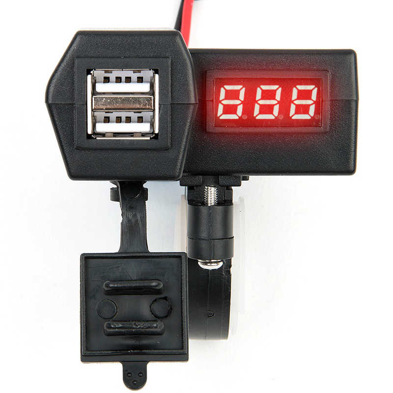 Motorcycle 12V Socket Scooter USB Charger LED Digital Display Voltmeter Power Switch Car & Autocycle Dual USB Cigarette Socket