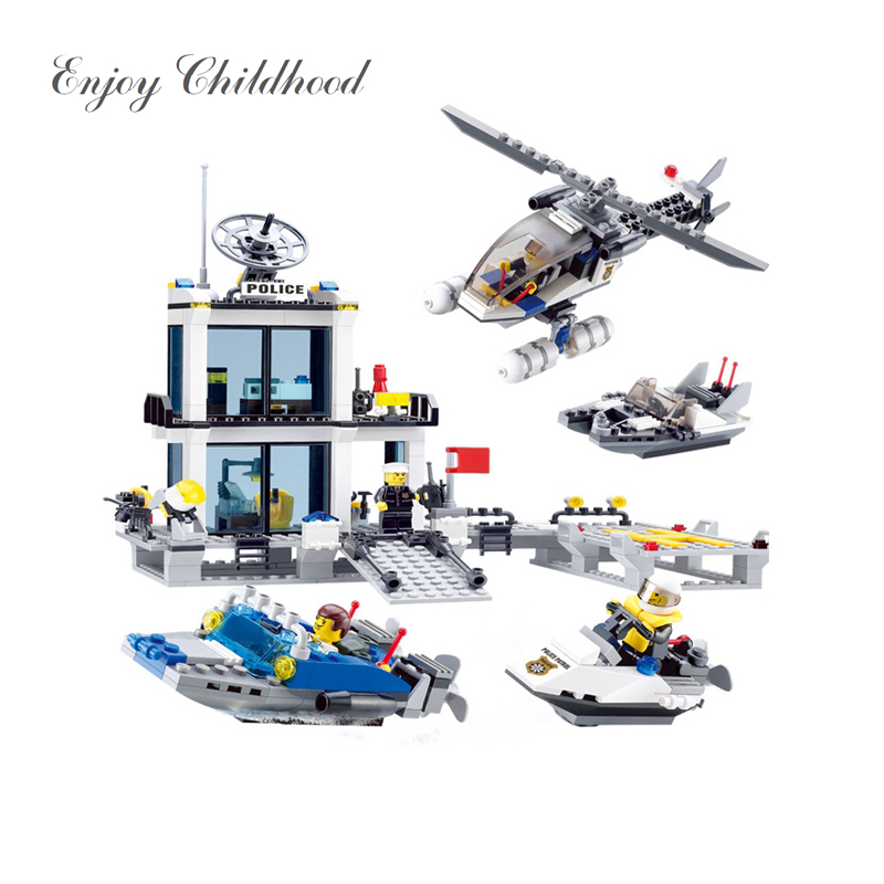 536Pcs Kids Toys City Street Police Station Helicopter Boat Model Bricks Educational Toys Children Gift Christmas Legoings