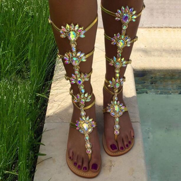 Здесь продается  Big Size 13 Sexy Bling Bling Crystal Embellished Flat Sandals Boots Hot Selling Summer Clip-toe Sandals Cut-out Beach Shoes  Обувь