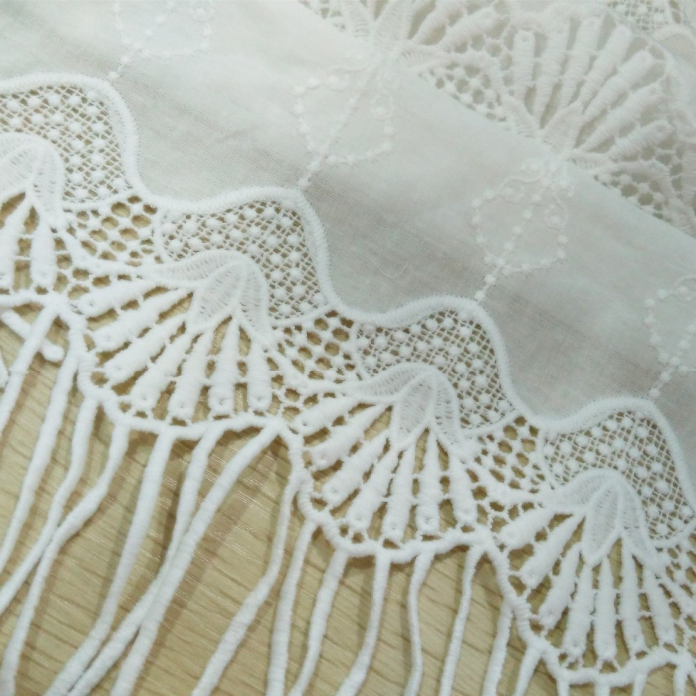 Cotton lace curtains - Scallop Edging And Tassel Craft Material Wholesale Fabric For Home Decoration Curtain Fabrics Pure White Embroidered