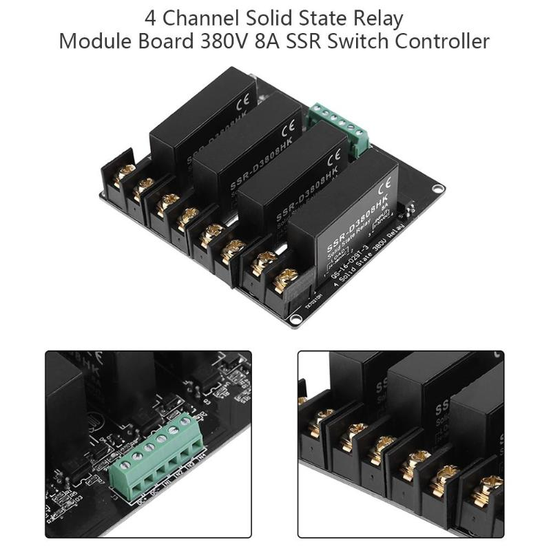 1PC 4 Channel Solid State Relay Module Board 380V 8A SSR Switch Controller for Arduino Solid State Relay 4 channel 24v relay module extension board for arduino