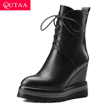 QUTAA 2020 New Wedge High Heel Genuine Leather PU Ankle Boots Zipper Lace Up Platform Round Toe Casual Women Shoes Size 34-42