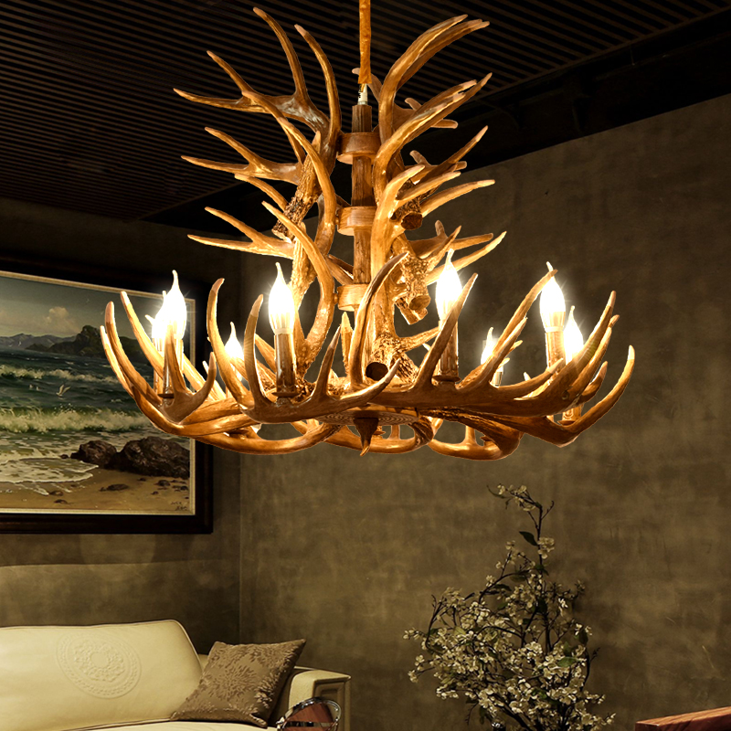 American Country Antler Pendant Lights Living Restaurant Bar Mediterranean Antler Industrial Lamp LOFT Resin Deer Horn Hanglamp