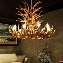 American Country Antler Pendant lights Living Restaurant Bar Mediterranean Industrial Lamp LOFT Resin Deer Horn Hanglamp
