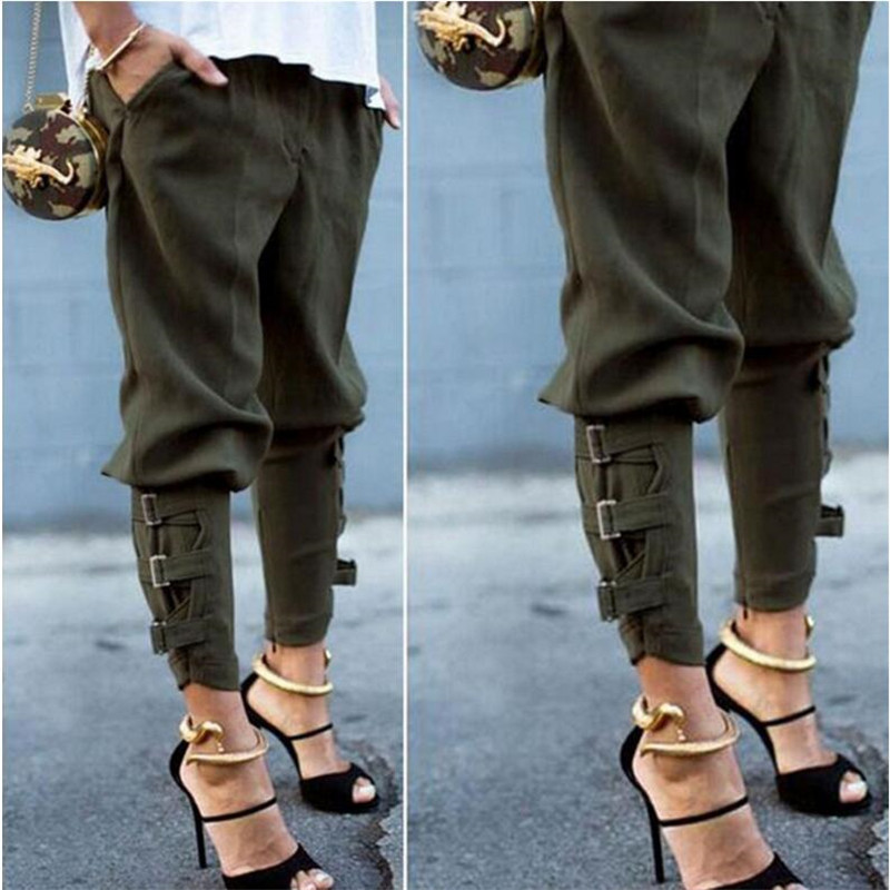 2019 New Women's Casual Waist Harem Pants Black Pocket Stretch Long Pants Ladies Basic Large Size Pants