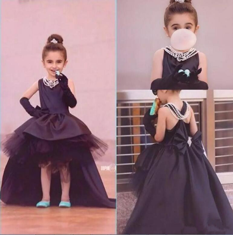 все цены на Pretty Princess Black Flower Girls Dresses Hi-Lo Puffy Girls Dresses for Wedding With Bow Pageant Gown First Communion Dress