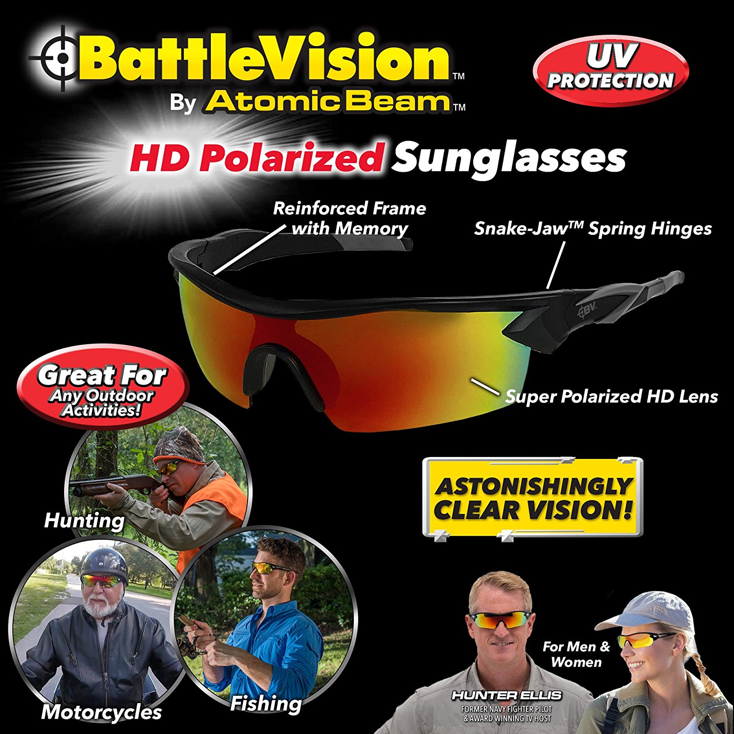 24PCS Deluxe Unisex Battle Vision Hi-Tech HD Polarized Sunglasses 10X Clearer UV Protection For Sports Fishing Hunting