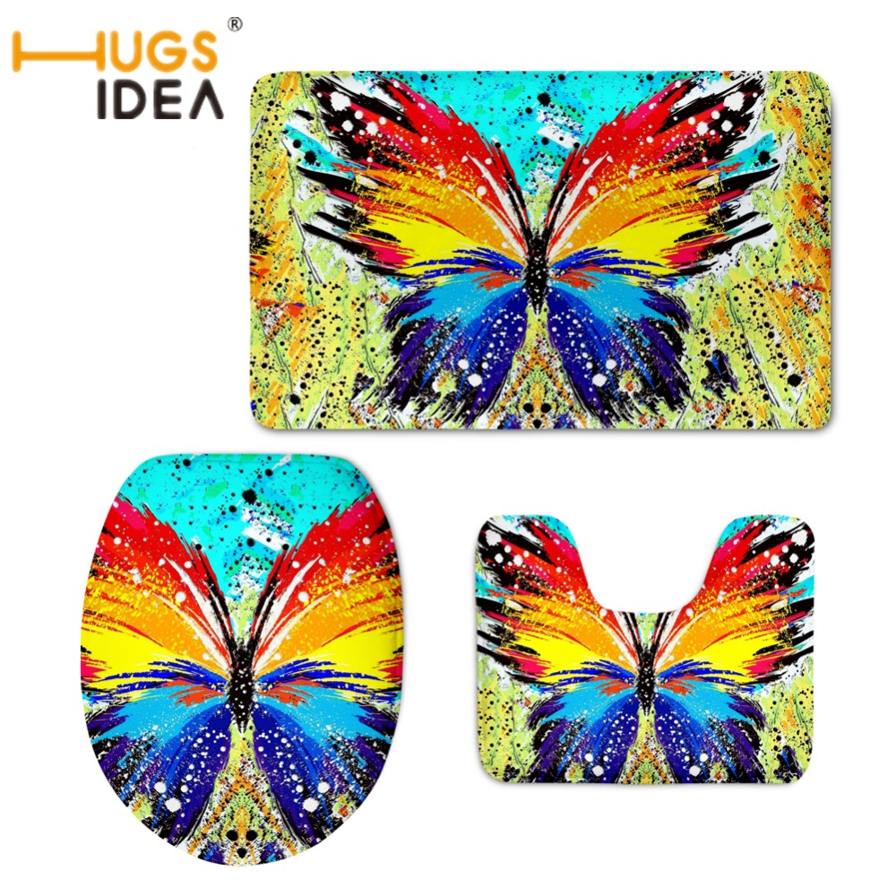 HUGSIDEA 3D Funny Butterfly Print Toilet Seat Covers Warmer Soft Bathroom Carpet Mat Non-slip Area Rugs Toilet Seat Case Tapetes