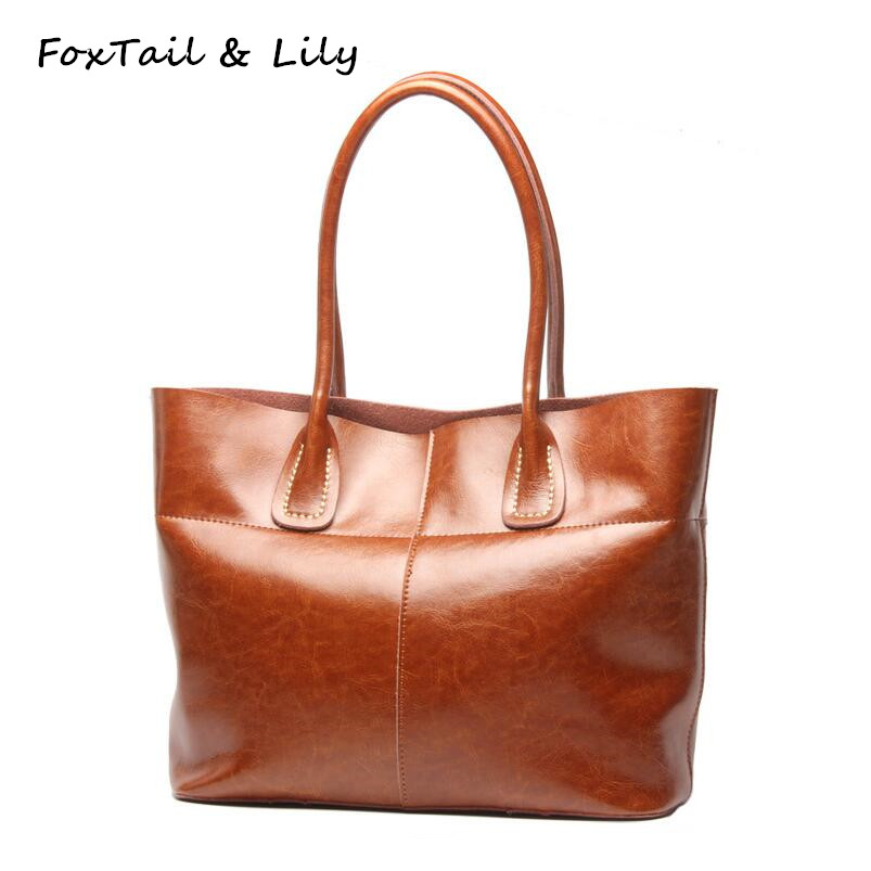 FoxTail & Lily Oil Wax Cowhide Ladies Tote Bags Handbags Women Famous Brands Genuine Leather Vintage Shoulder Bags High Quality chispaulo brand women handbag high quality oil wax leather ladies shoulder bags vintage female bags
