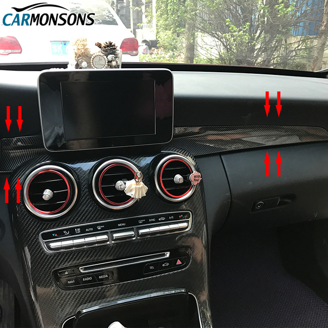 Carmonsons for Mercedes Benz C GLC Class W205 X253 Console Dashboard Decorative Trim Cover Stickers Accessories Car Styling