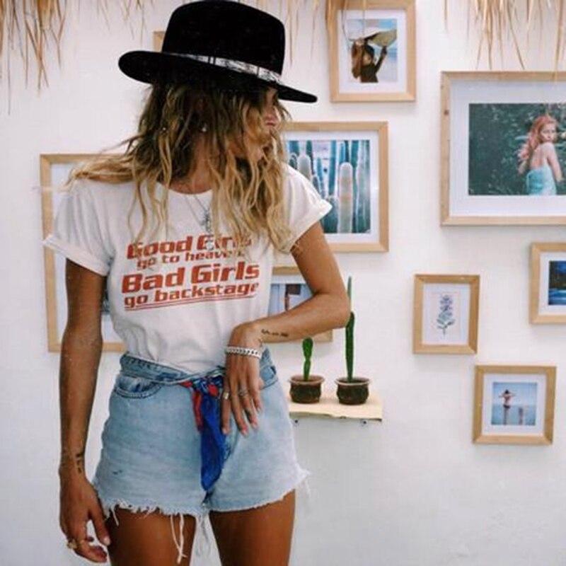 Donne Maglietta 2018 della Maglietta di Modo Brave Ragazze Andare in Paradiso Bad Girls Go Backstage Tee Shirt In Cotone Manica Corta T-Shirt Estate