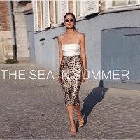 2019 летняя пикантная Женская юбка Пляжная шелковая 100% Высокое качество Леопардовый принт Женская юбка