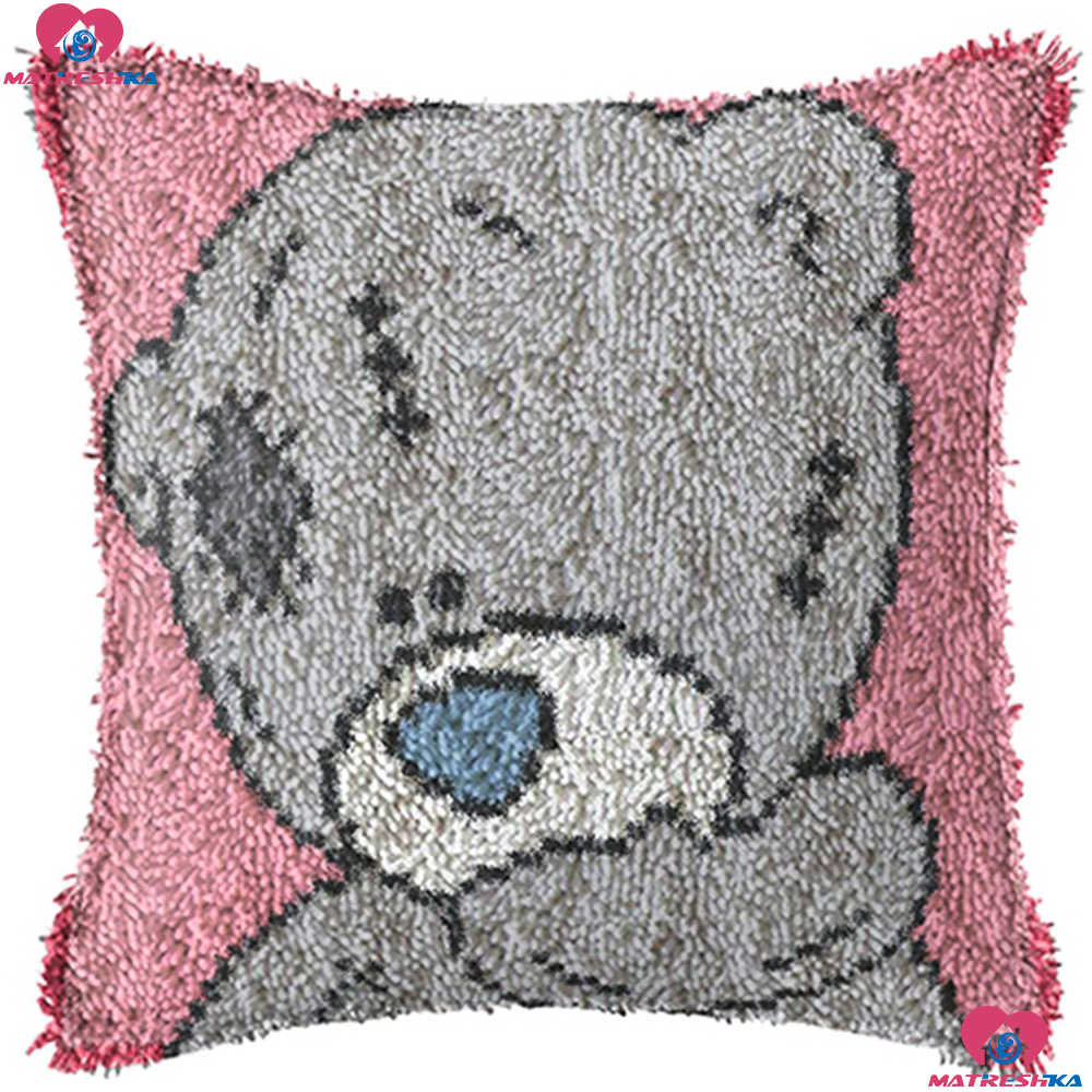Bear Diy Latch Hook Kits Pillowcase Cushion Embroidery Printed canvas Cover Crochet Latch Hook Unfinished home decor needlework