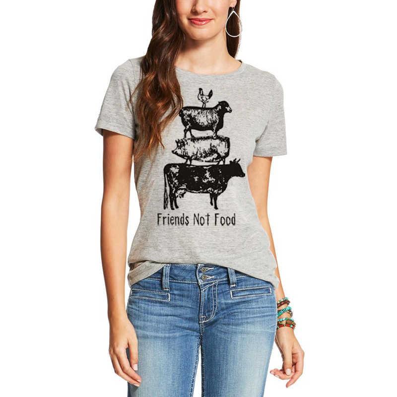 Showtly Teman-teman Tidak Makanan Vegetarian Vegan Tee Top Herbivora Menyelamatkan Hewan Hadiah untuk Pacar Istri Wanita T Shirt