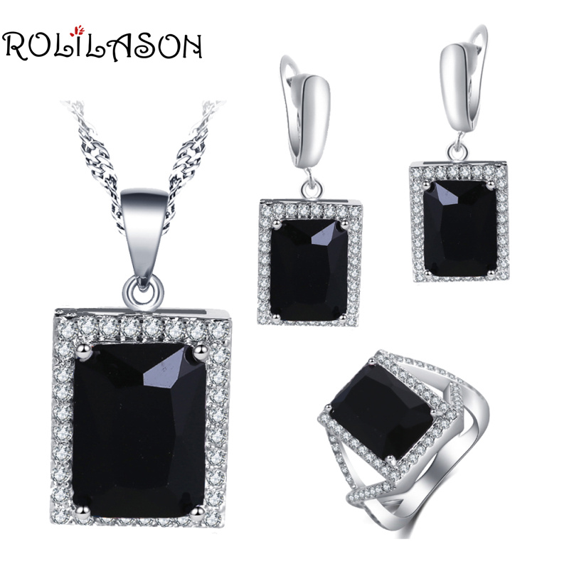 ROLILASON Engagement gift For girl Black Zircon Square Design 925 Silver Stamped Earrings Necklace Rings Jewelry Sets JS750