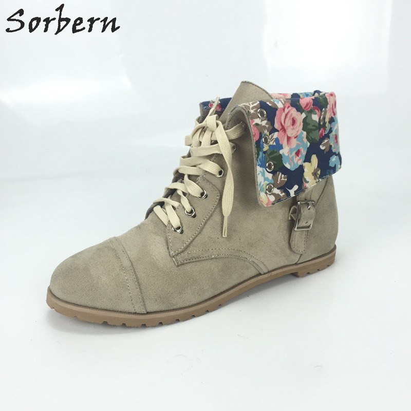 Sorbern Flat Heel Ankle Boots Women Round Toe Womens Winter Boots 2017 Ankle Boots Square Low Heels Flower Print Large Size 46 flower print flat sliders