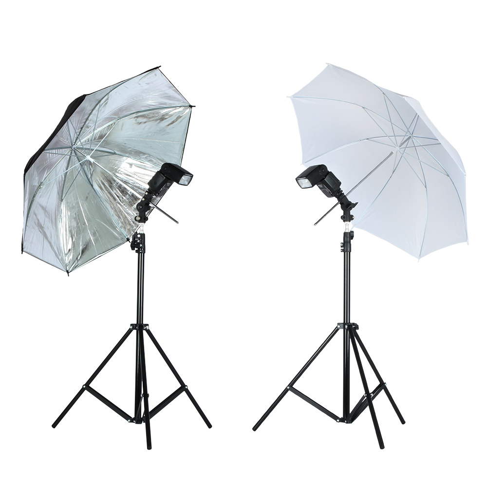 Viltrox Foto Studio Beleuchtung Kit 1,9 M Stativ Light Stand + Flash Halterung Halter + 33 ''Weichen Schwarz silber reflektierende regenschirm