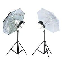 Viltrox Kit de iluminación de estudio fotográfico, trípode de 1,9 M, soporte de luz + soporte tipo rótula para Flash + paraguas reflectante suave negro y plateado de 33