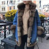 2018 новый реальный лисы пальто с мехом длинная парка зимняя куртка женская джинсовая куртка натуральный большой меховой воротник лиса Толст