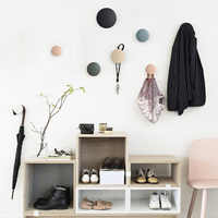 Nordic Clothes Cap Hook Wall Hangings Storage Decoration Circular Button-shaped Solid Wood Creative Dots Morandi Color