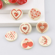 Brand 50PCS 18mm Heart Wooden Buttons Mixed Heart Pattern Decorative Buttons 2-Holes Fit Sewing Scrapbooking Craft DIY heart shape blanks wooden blanks heart pattern diy cross stitch