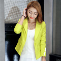 Nuevo estilo Coreano de otoño Mujer pequeña chaqueta Del juego clásico Británico de manga larga Blazer Femenino Traje de Oficina de Color Caramelo 030204