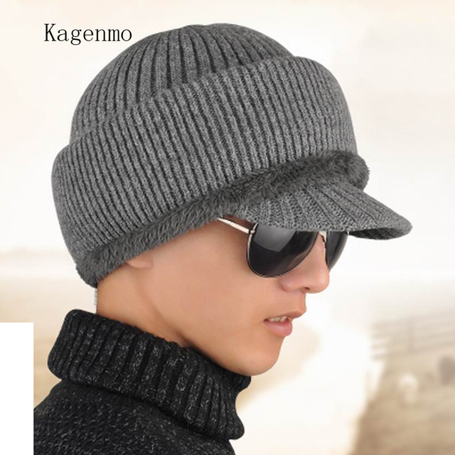 a41edef95de Kagenmo Hat male cap quinquagenarian male knitted hat winter thermal old  man hat plus velvet thickening