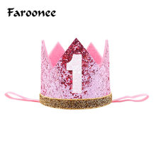 Baby Boy Girl First 1st Birthday Party One Three Eighteen Years Old Crown Children Hair Band Headband Prince Princess Hat(China)