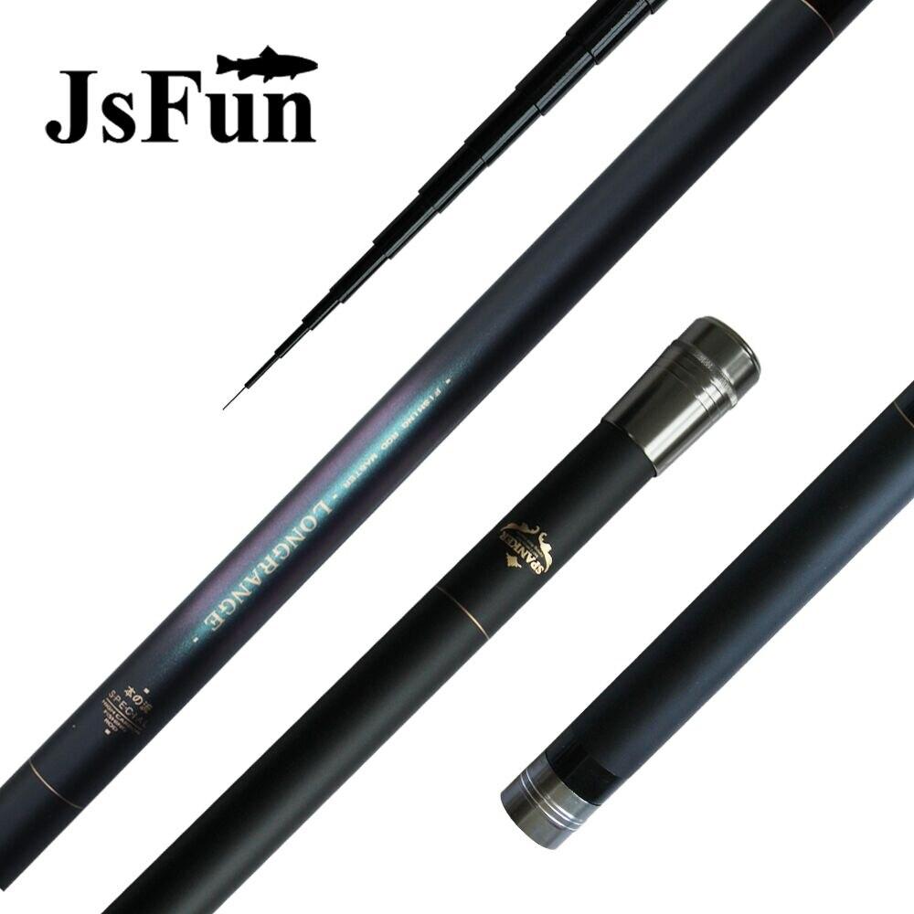 JSFUN puissance main canne à pêche 8 M 9 M 10 M 11 M 12 M tige d'alimentation télescopique carbone poisson pôle ultraléger + 1 pointe de rechange FG65