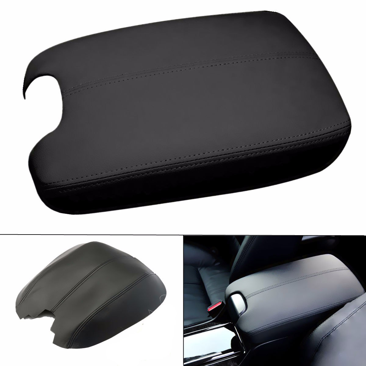 New Black Leather Armrest Center Box Console Lid Cover with Brush Scraper For Honda /Accord 2008 2009 2010 2011 2012