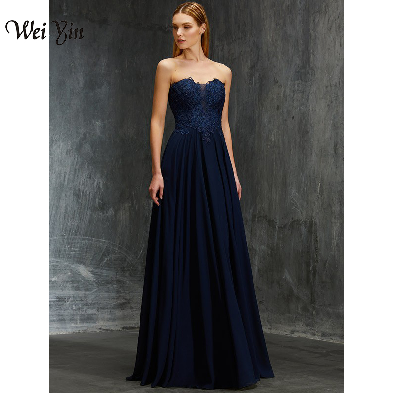 WEIYIN haute qualité bleu marine en mousseline De soie robes De soirée longue formelle Robe Zipper dos robes De soirée dentelle Robe De bal Robe De soirée