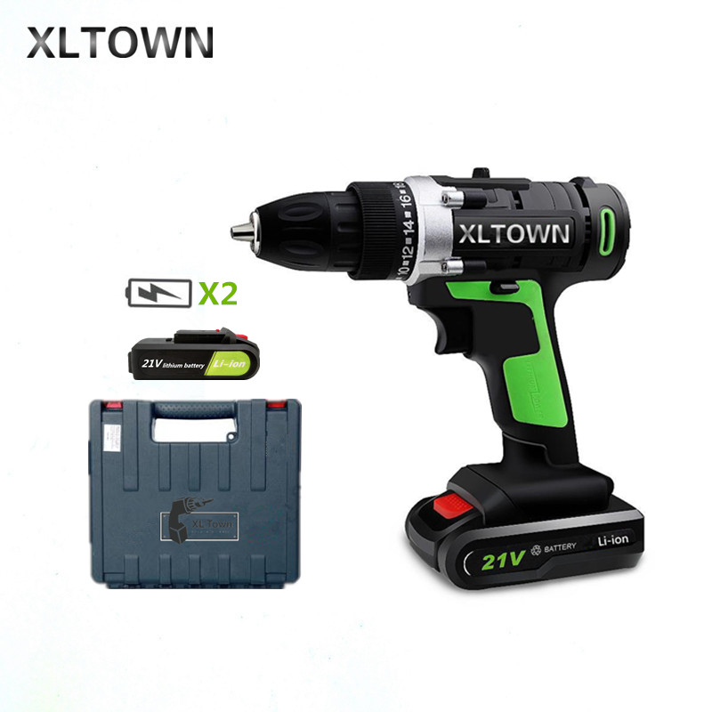 XLTOWN new 21v Home Cordless Electric Drill with 2 battery a box Multi-Motion lithium battery Rechargeable Electric Screwdriver xltown 21v home cordless electric drill high quality multi motion lithium battery rechargeable electric screwdriver power tools