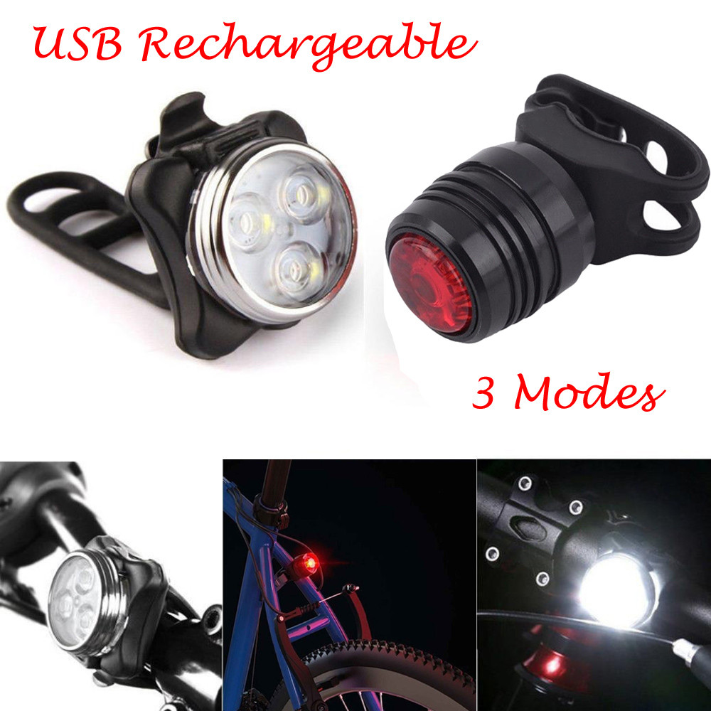 5000LM USB Rechargeable LED Bicycle Headlight Bike Head Light /& 5 LED Rear Lamp