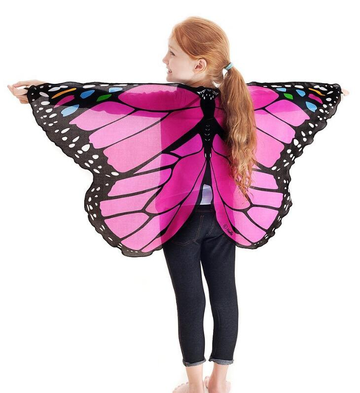 Girl's Butterfly Chiffon Fabric Costume Wings For Kids Stage Show Costume Accessory Assorted Color Free Shipping