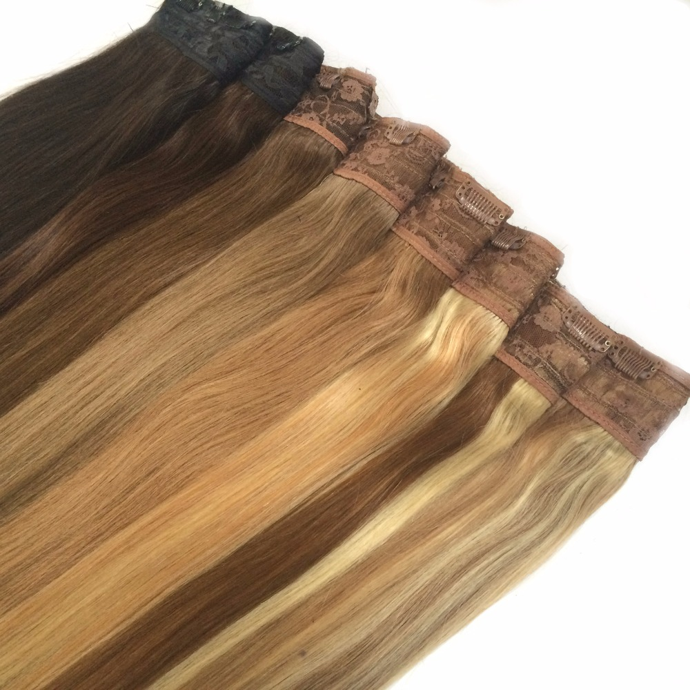 16 18 20 22 24 80g Quad Weft One Piece Clip In Remy Hair