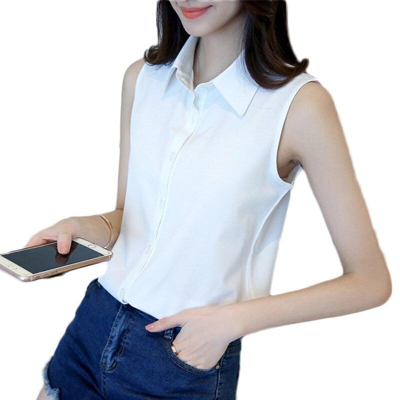 Fashion Women Sexy Turn Down Collar Blouse Elegant Casual Sleeveless Shirt Tops
