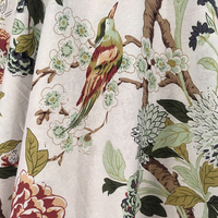 New Arrival Birds Flowers Patterned Cotton Flax Cloth Ethnic Curtains Fabric Zakka Linen Meter