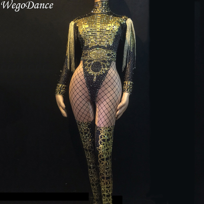 Gentle New Women Sexy Gold Fringes Epaulet Rhinestones Jumpsuit Jazz Dance Nude Stretch Bodysuit Outfit Evening Show One-piece
