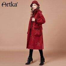 ARTKA 2018 Autumn and Winter New Women Vintage Red Lantern Sleeve Large Pocket Floral Embroidered Loog Woolen Coat WA10182D