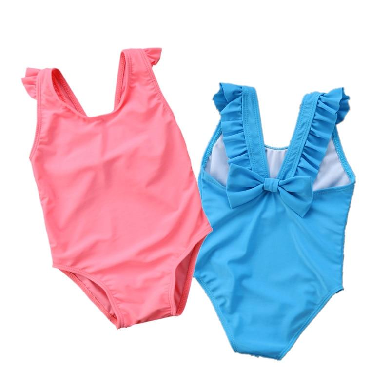 2018 Brand New Newborn Infant Toddler Kids Baby Girls Bowknot Swimsuit Swimwear Beachwear Bathing Suit Ruffled One Piece Tankini