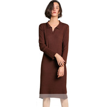 Long Cashmere Knitted Sweater Dress Women New Striped Pure Wool Knit Sleeve Warm Maxi Sweaters