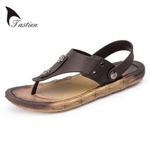 TASTIEN 2017 Leather Men Flip Flops Summer Sandals Men's Male Brand Designer Slippers For Seaside Beach Casual Walking Sildes