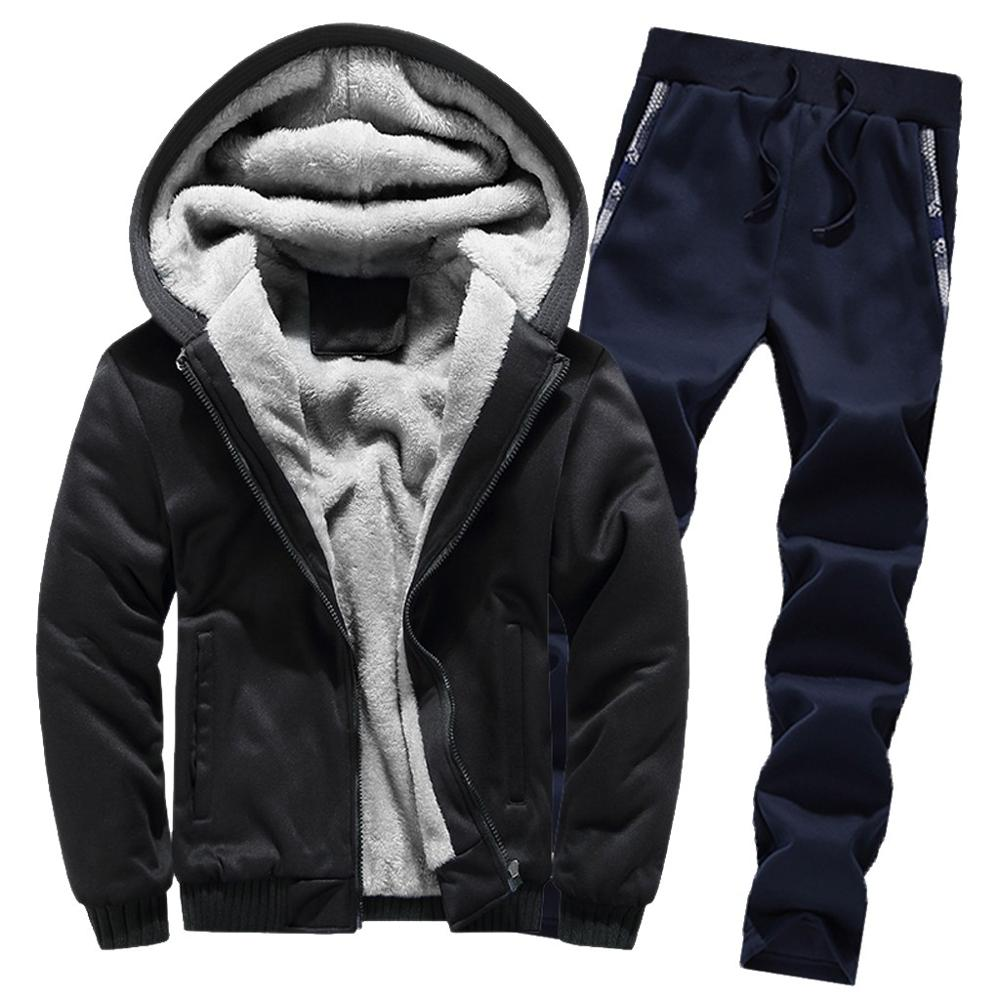 Mens Hoodie Cotton Pants Sportswear Set Winter Warm Fleece Zipper Sweater Jacket Outwear Coat Top Pants Sets Mens Clothing j10(China)
