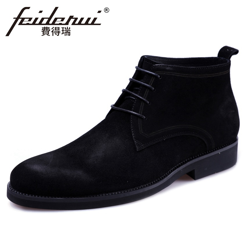 New Arrival Basic Cow Suede Leather Men's Riding Ankle Boots Round Toe Lace up High-Top Handmade Cowboy Martin Man Shoes YMX591 casual casual инсайд