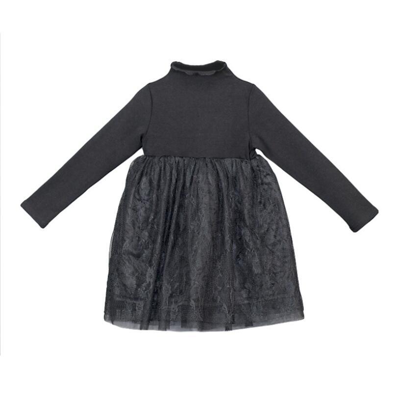 Warm Winter Spring Fall Black Teenage Girl Lace Dress Toddler