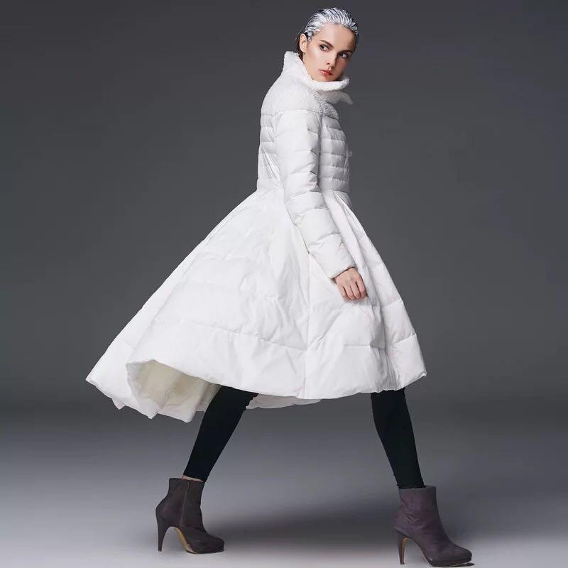 2017 Fashion High Quality Womens Winter Skirt Hem Long Outerwear 90% Duck Down Coat Long Quilted Women Warm Down Jackets